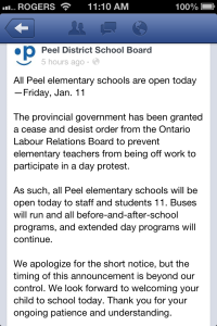 PDSB's facebook page